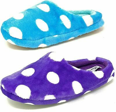Ladies Womens Teens Purple Blue Polka Dot Fluffy Slippers Girls Mules Size 3-8