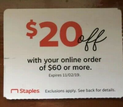 Staples Coupon $20 Off Online Order Of $60 Or More Exp. 11/02/19