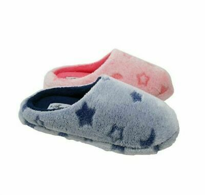Ladies Womens Teens Pink Blue Moon Star Fluffy Slippers Girls Mules Size 3-8