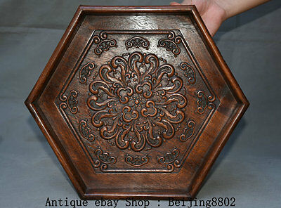 """14"""" Old Chinese Dynasty Huanghuali Wood Carving Classical Trays Pallets Plate"""
