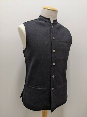 Indian Men's 100% Wool Vest Mandarin Collar Fabindia Nehru Jacket Traditional