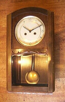 Antique Oak Hamburg American Clock Co (HAC) Chiming Wall Clock - Key Pendulum