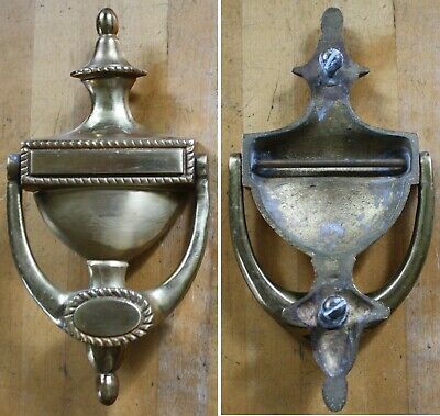 """Vintage Solid Brass Door Knocker-Engravable Plate-Top Quality-Heavy-8"""" Tall"""