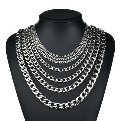 3.5-7 mm Men Womens 316L Stainless Steel Silver Twist Curb Link Chain Necklace