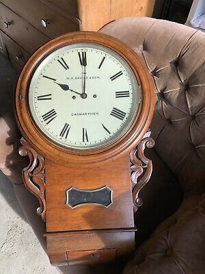 W.A. Davies & Don Carmarthen Victorian Oak Cased Fusee Railway School Clock
