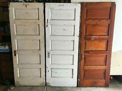 3 for $75 SALVAGE ANTIQUE 5 RAISED PANEL SHABBY PAINT WOOD INTERIOR DOORS pickup