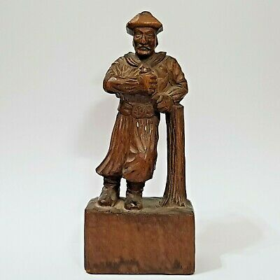 Antique Black Forest? Hand Carved Wood Statue of Drunk Man.