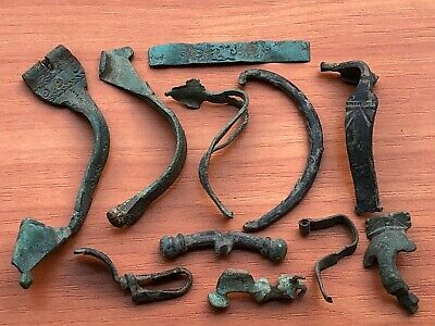 Lot of 11 Ancient Roman Bronze Fibula Circa 100-300 AD Very Rare / Fragments