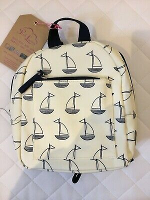 Pink Lining Mini Rucksack Navy and Cream Boats