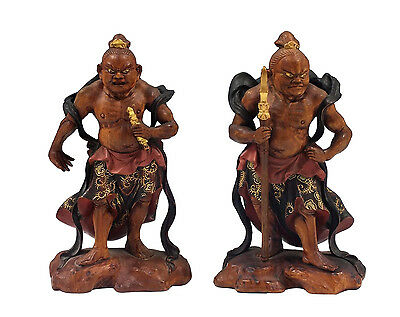 Signed Pair o Antique Japanese Nio Carved Wood Statues Agyo & Ungyo