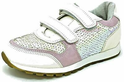 Girls Pink White Sequin Jogging Trainers Shoes Size 8-12