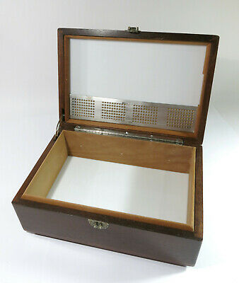 Refinished & Restored Antique Cigar Humidor With Humidity Pad—Milk Glass Liner