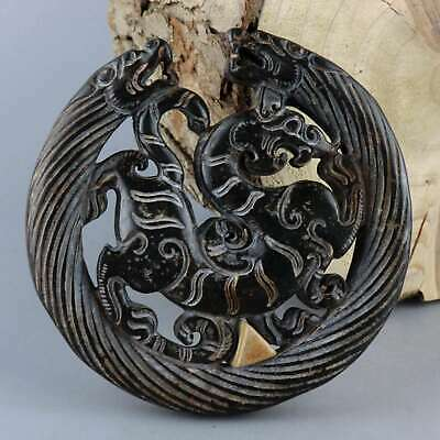 Collectable China Old Jade Hand-Carved Myth Dragon Exorcism Bring Luck Pendant