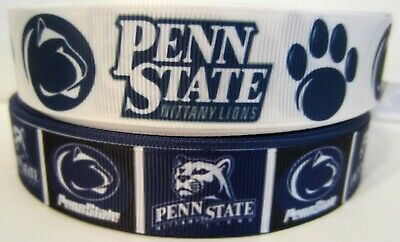 "7/8"" Grosgrain Penn State Nitty Lions Football Ribbon For Hair Bows Diy Crafts"