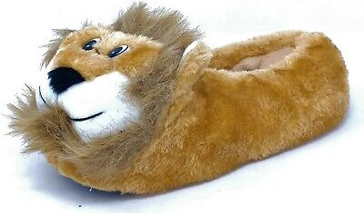 Kids Childrens 3D Novelty Lion Slippers for Girls Boys House Shoes Sizes 9-2