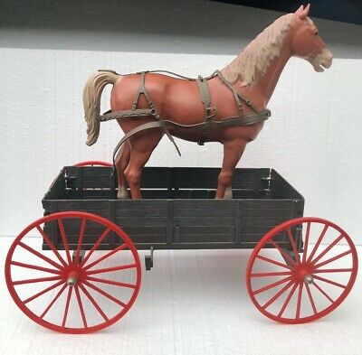 1960'S Marx Johnny West Covered Wagon And Horse