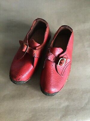 ANTIQUE Industrial Victorian CHILDS LEATHER & WOOD SHOES * CLOGS *