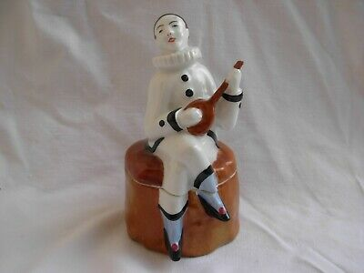Limoges,French Art Deco Porcelain Box,Pierrot With Mandolin