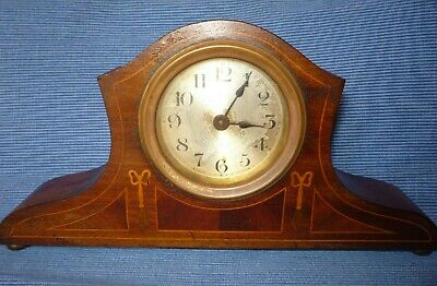 Antique Inlaid Wooden Edwardian Mantle Clock  Not Working Spares or Repairs