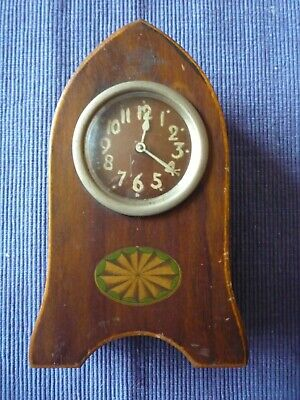 Antique Wooden Edwardian Mantle Clock Gothic Arch  Not Working Spares or Repairs