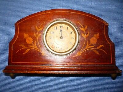 Vintage Antique Inlaid Wooden H.A.C. Mantle Clock  Not Working Spares or Repairs