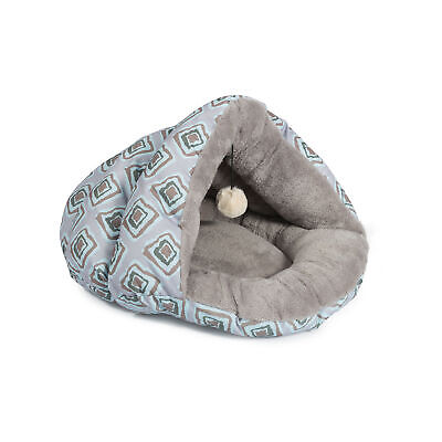 Ancol Plush Pet Bed Cave for Cats Grey Blue Geometric Design
