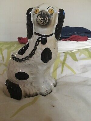 Antique 19th Century Staffordshire Flat Back Figure of A Dog