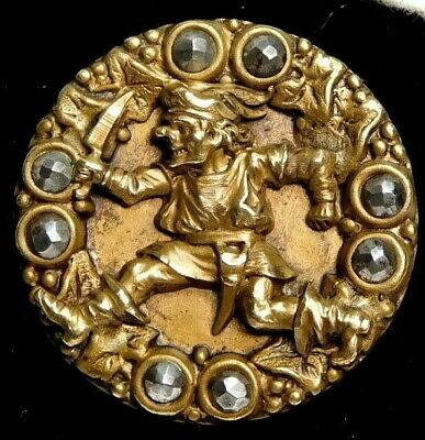 RARE Antique BUTTON The GIANT ~ Jack the Giant Killer Large Brass w Cut Steels