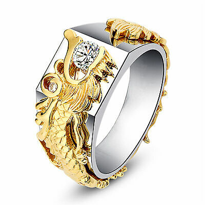 Unisex 18k Gold Filled Dragon AAA Cubic Zircon Band Wedding Engagement Ring Sz 8