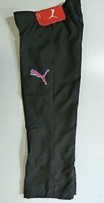 New Girls Puma Big Cat Woven Jazz Pants Tracksuit Bottoms Joggers Black Pink