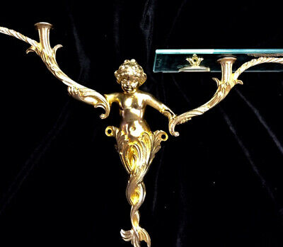 SHERLE WAGNER 24 Carat Gold Plated Water Nymph Shelf, Vintage Brass ca.1980s