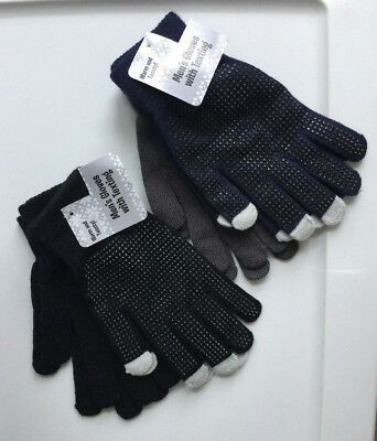 Men's 2 Pair Pack One Size Gloves Texting Tips  Blue/Gray or Black/Black Acrylic