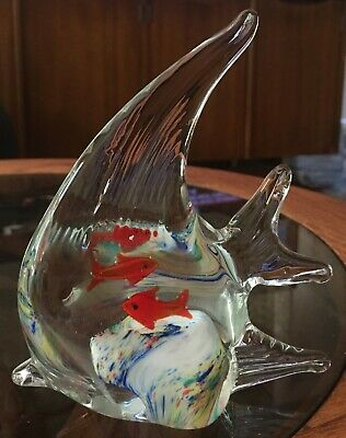 Beautiful Vintage MURANO BLOWN GLASS Angel FISH Goldfish inside bowl 5""