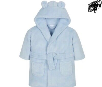 Baby Boys Blue The Little White Company Dressing Gown Robe 0-6 Months
