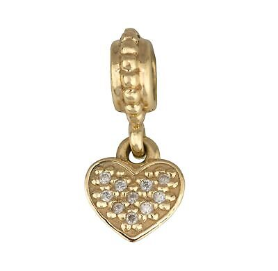RETIRED Pandora 14K 585 Yellow Gold Pave Diamond Heart Dangle Charm #750809D