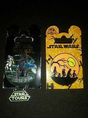 Disney Theme Parks Star Wars Pins Lot Of 2 Vader And Halloween Silver New