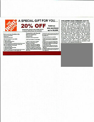 ***(1)***20% OFF HOME DEPOT competitors Coupon at Lowe's expire 12/31/19