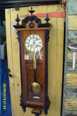 Wall Clock Schutz Time Piece Large Clock Weight Driven  Pendulum  Original Key