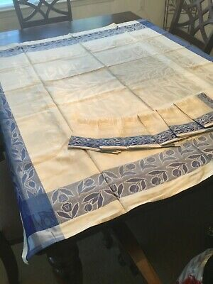 Lovely Vintage Blue And Cream Damask Tablecloth And Napkins