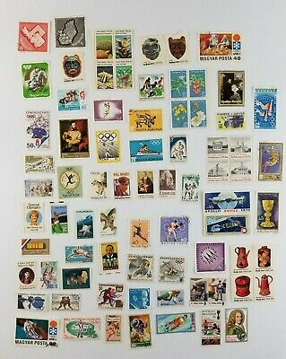 Random Lot of 60 Postage Stamps Used an New 70's 80's
