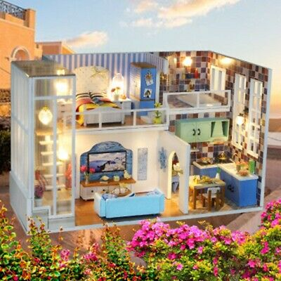 DIY Mini Loft Apartment Dollhouse Furniture Wooden LED Kits Puzzle Toy Xmas Gift