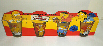Vintage HOMER SIMPSON Shot Glasses The Simpsons Collectibles Set of 4 NIB