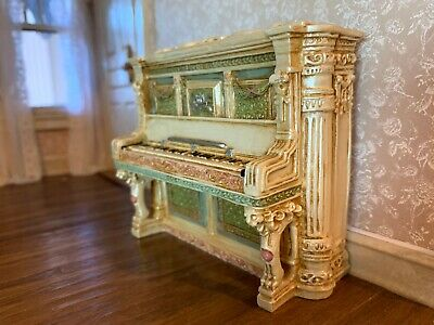 VINTAGE Miniature Dollhouse Victorian Parlor Piano Carved Plays Music Unusual