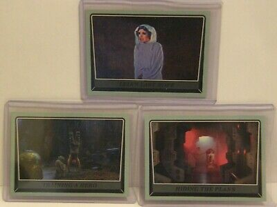 2016 Topps Star Wars 3 Blue ROGUE ONE 23,28,70 LEIA LUKE YODA R2 Parallel #/100
