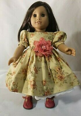 "Fit American Girl Doll  18"" Dress Flora vintage  print lined lace trim"