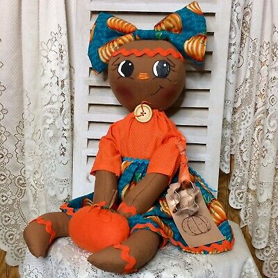 Primitive Gingerbread Doll Girl Pumpkin Fall Thanksgiving Shelf Sitter