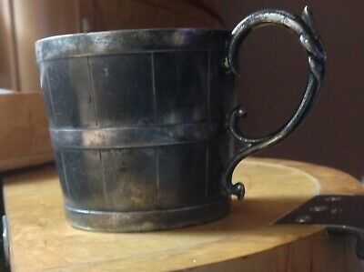 ANTIQUE c1900's Silverplated Pewter (EPBM) Barrel Shaped Mug or Cup
