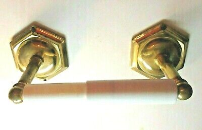 Vintage Ultra Retro Brass 1940s Bathroom Toilet Tissue Paper Roll Holder Hexagon