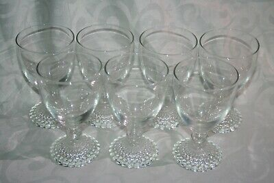 """Anchor Hocking 5 1/4"""" Early American Bubble Clear Glass Goblets Lot of 7"""