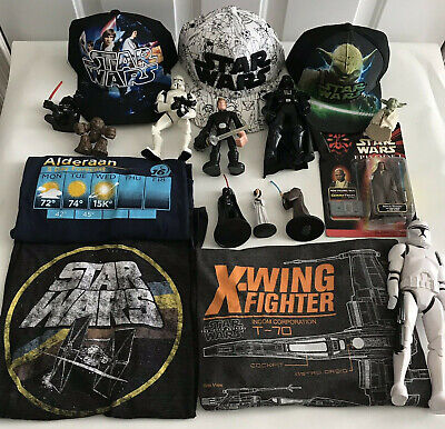 16PC STAR WARS Superfan Lot - Hats Shirts action figures mixed collectibles